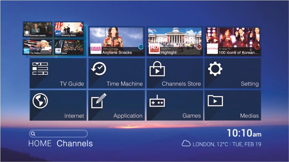 Интерфейс SPB TV на медиацентре NV-310