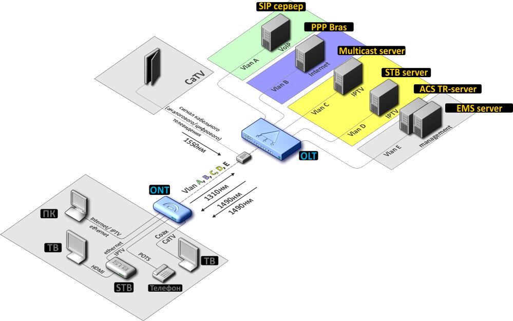 Rаждый порт LAN абонентского терминала используется для предоставления определенной услуги.